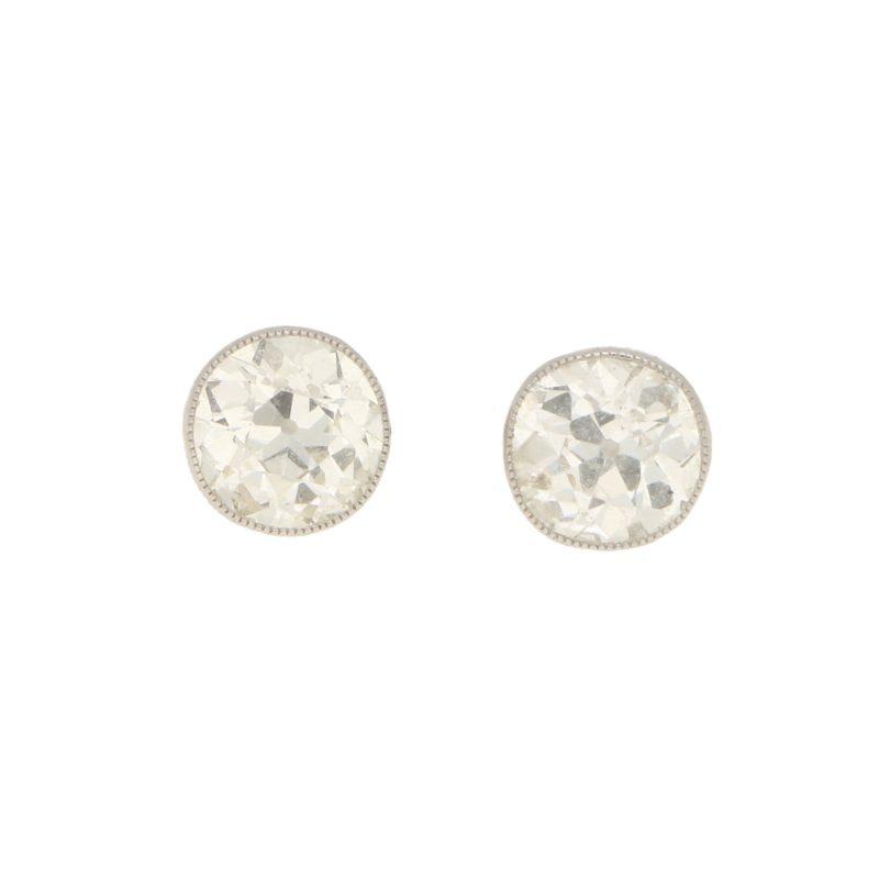 Edwardian 2.50ct Old Mine-Cut Diamond Stud Earrings in Platinum