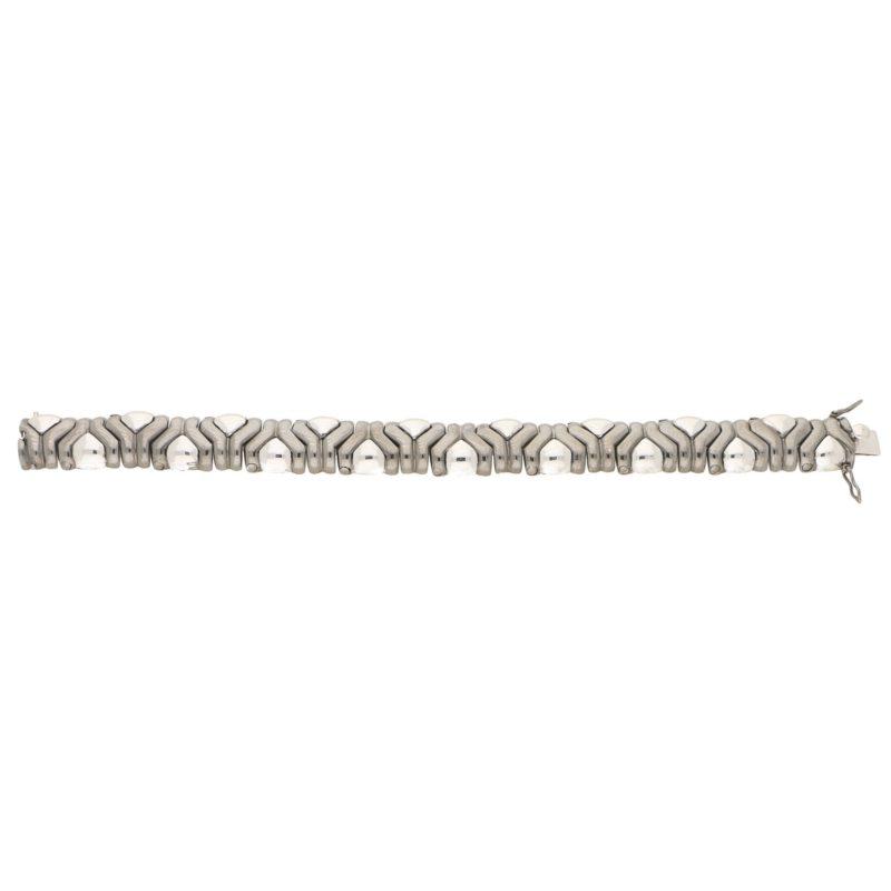 Vintage Aztec Mosaic Bracelet in Black and White Gold, Italian