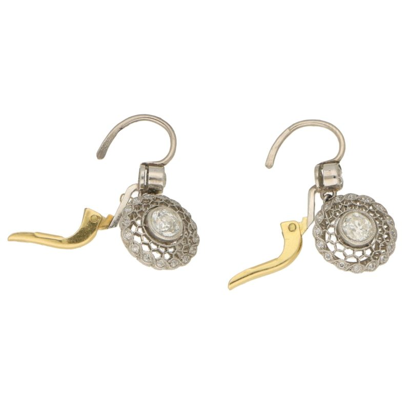 Vintage Art Deco Style Diamond Target Drop Earrings