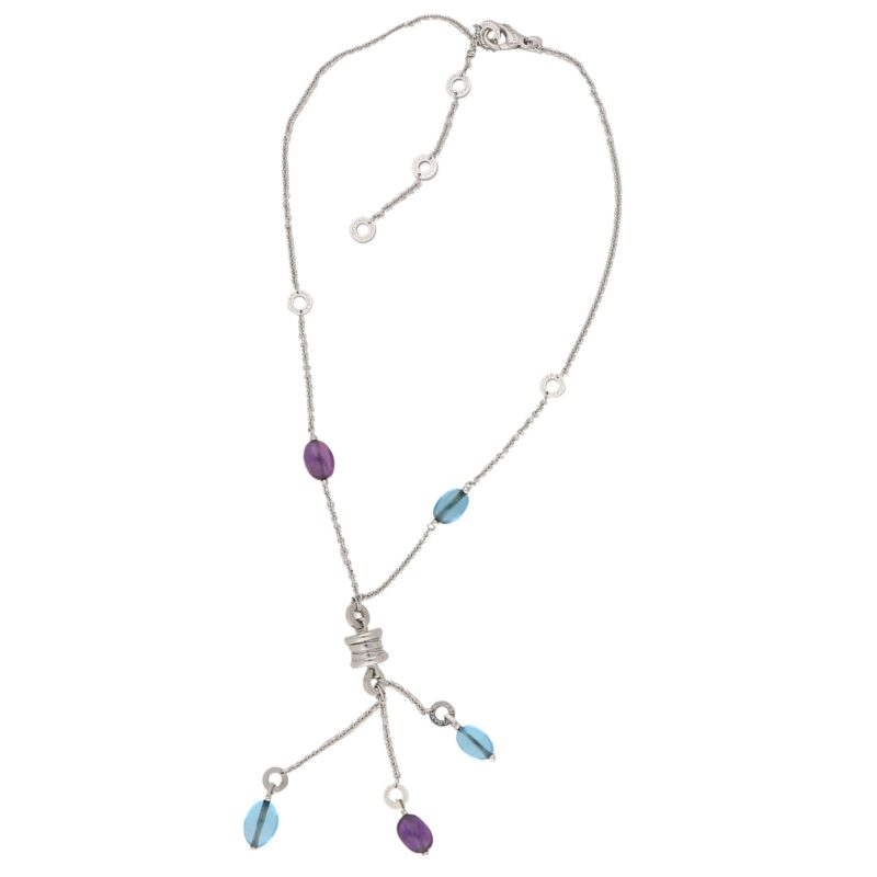 Bulgari B.Zero1 Blue Topaz and Amethyst Necklace in White Gold