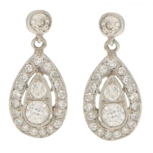 Edwardian 0.90ct Diamond Ear Pendants in Platinum