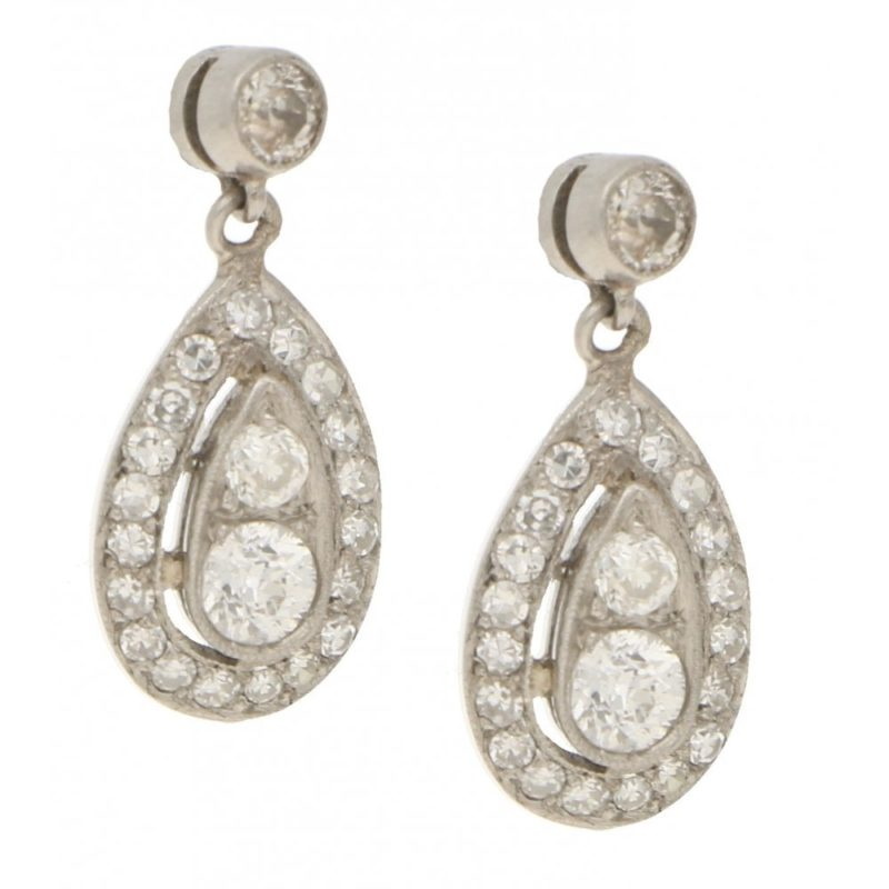 Edwardian 0.90ct Diamond Ear Pendants in Platinum