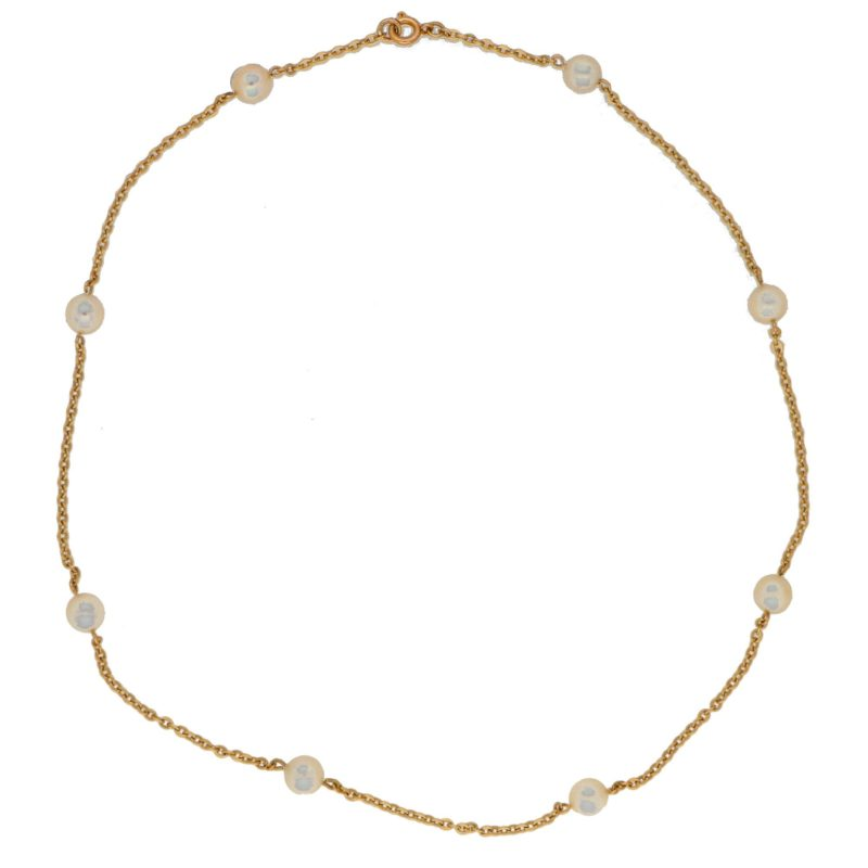 Vintage Cultured Pearl Station Necklace in Yellow Gold