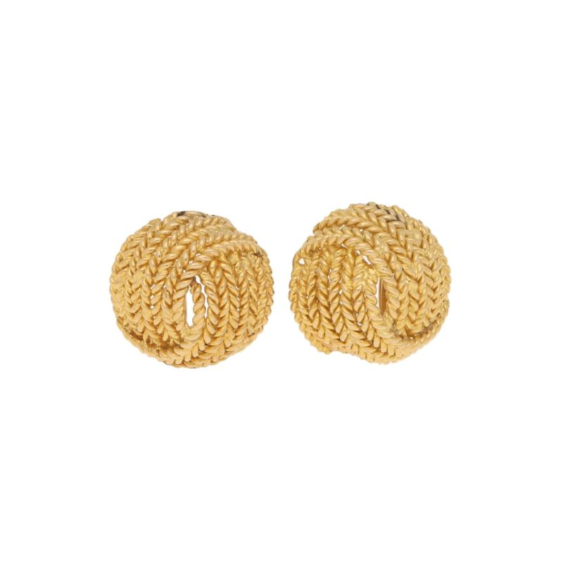 Vintage Ropework Knot Ear Clips in Yellow Gold