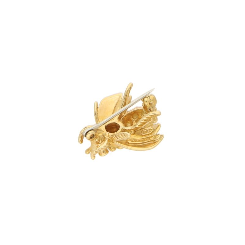 1960s Queen Bee With Ruby Eyes Brooch in Yellow Gold