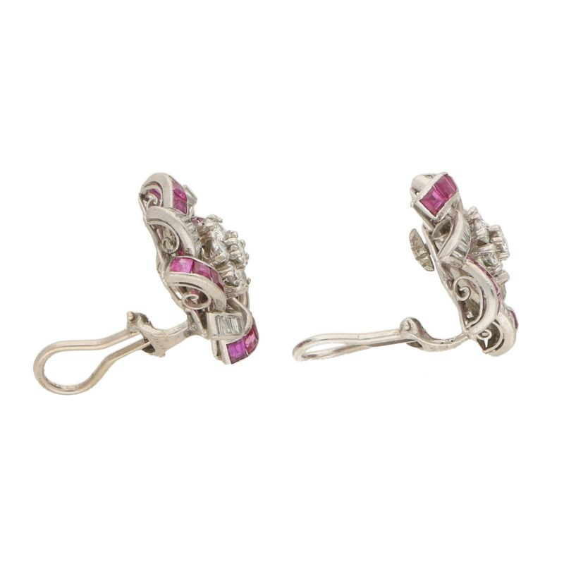 Diamond and Ruby Swirl Clip Earrings in White Gold