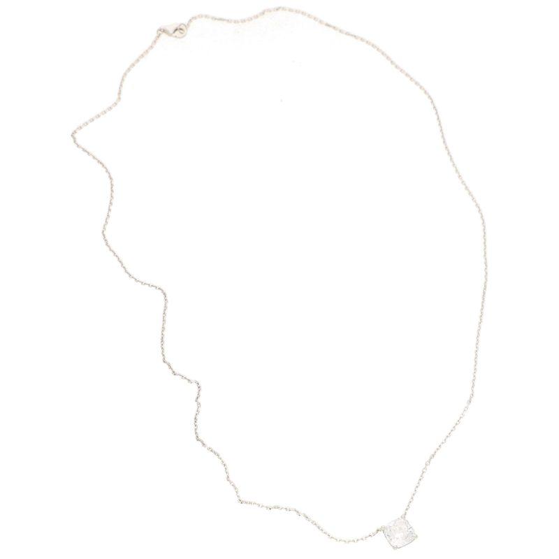 Certified 1.70ct Cushion-Cut Diamond Solitaire Pendant Necklace