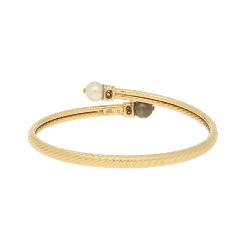 Cultured Pearl and Diamond Bangle in Yellow Gold