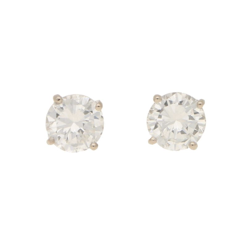 Solitaire diamond stud earrings 2.35 carats