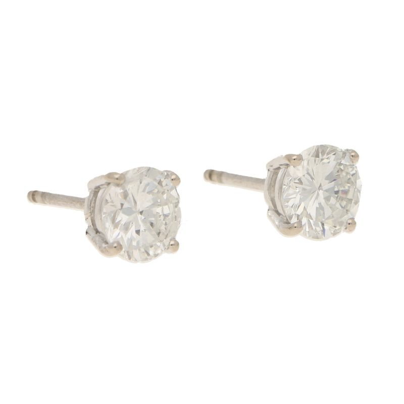 Certified 2.35ct Diamond Stud Earrings in White Gold
