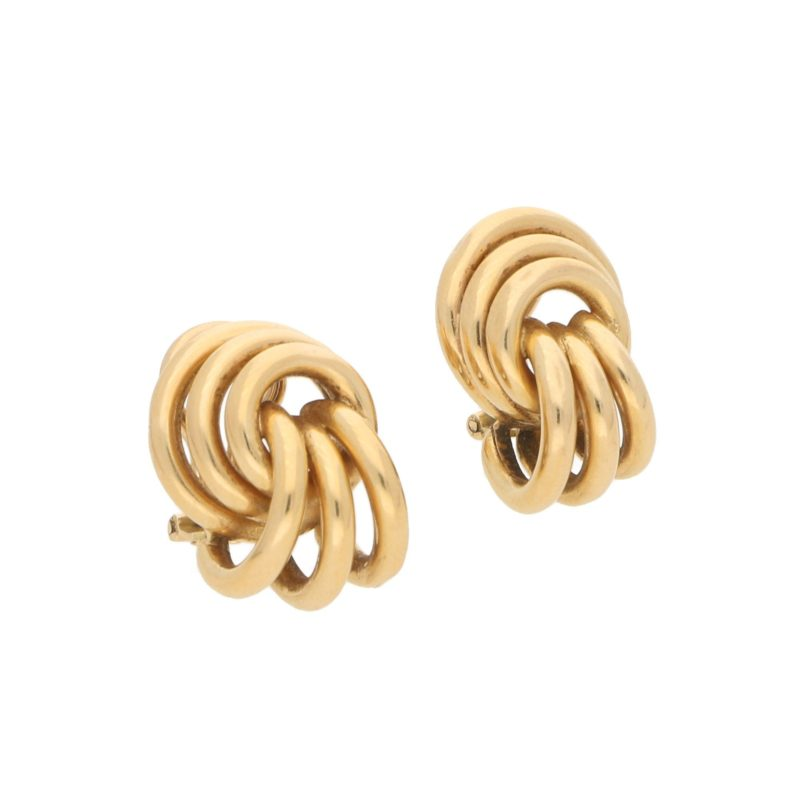 Vintage Knot Ear Clips in Yellow Gold