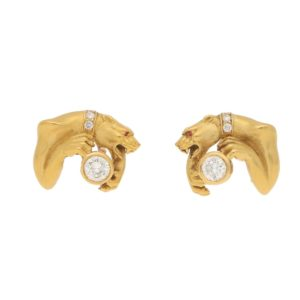 1980s Carrera y Carrera Diamond Panther Earrings in Yellow Gold