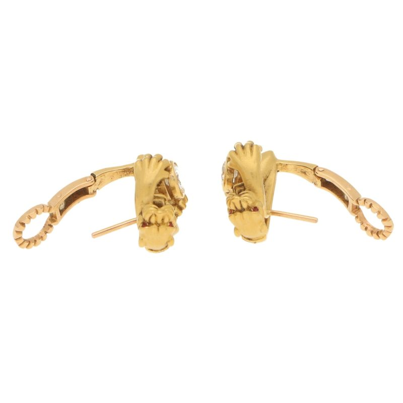 1980s Carrera y Carrera Diamond Panther Earrings in Yellow Gold