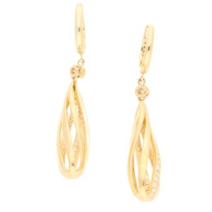 Diamond Openwork Spiral Drop Earrings in Yellow Gold