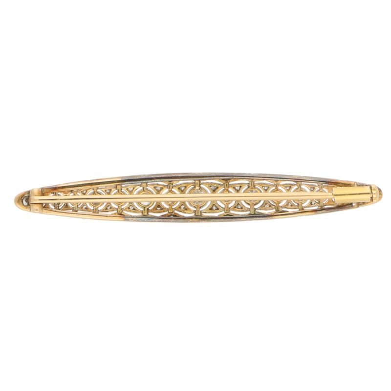 Edwardian Diamond Bar Brooch in Platinum and Yellow Gold, c.1905