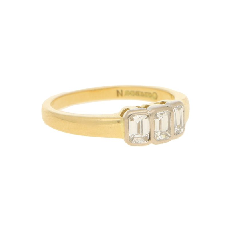 1990s Emerald-Cut Diamond Three Stone Ring in Yellow White Gold