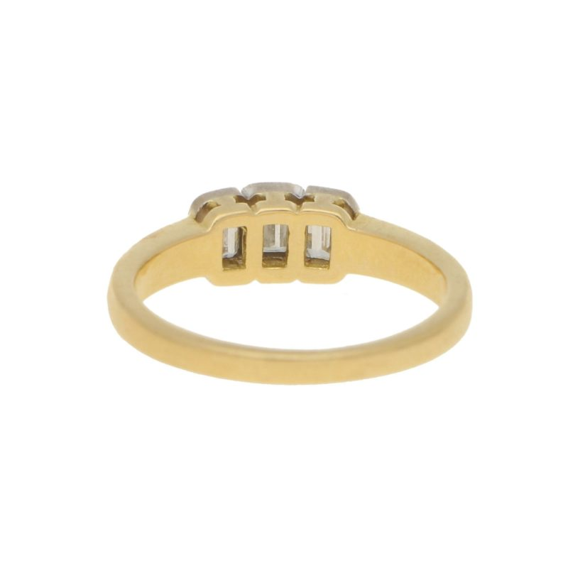 1990s Emerald-Cut Diamond Three Stone Ring in Yellow White Gold