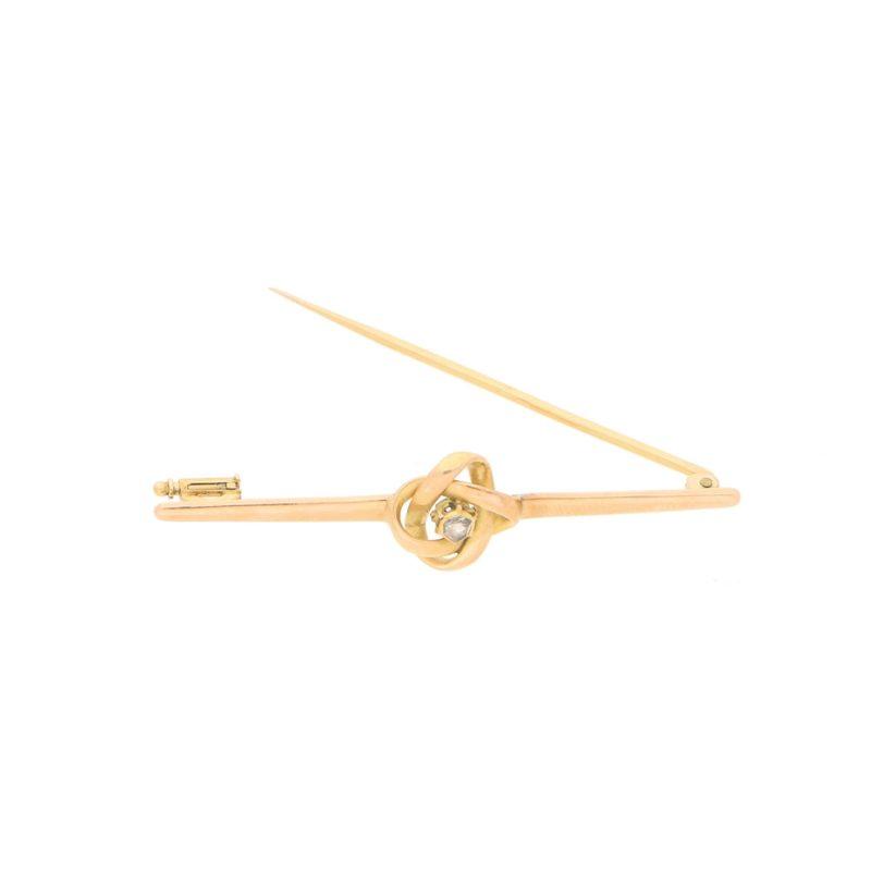 Vintage Rose-Cut Diamond Knot Bar Brooch in Rose Gold