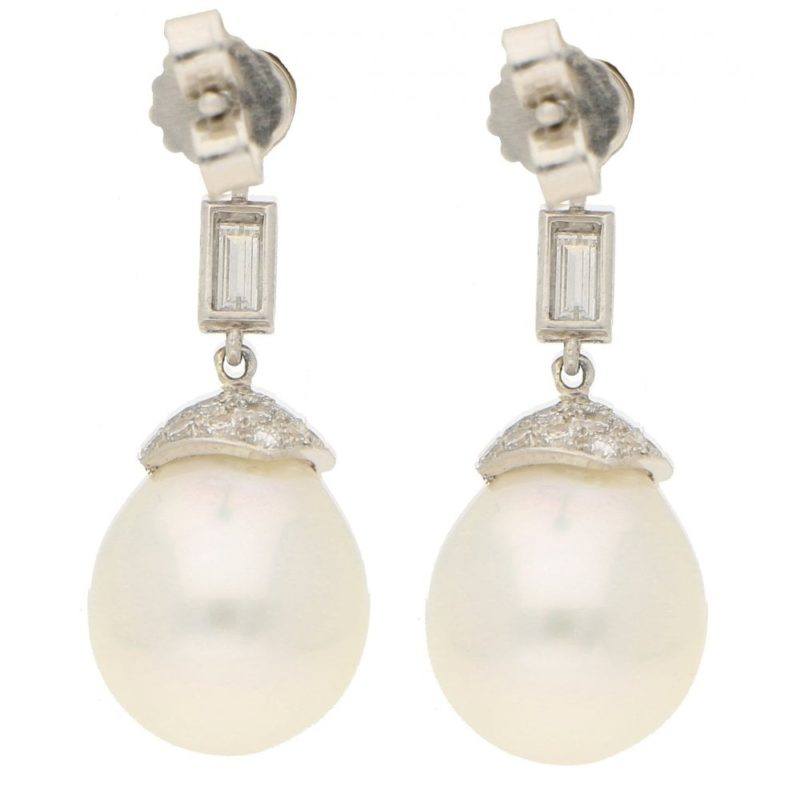 South Sea Cultured Pearl and Diamond Drop Earrings in White Gold