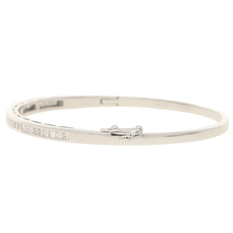 3.4ct Princess-Cut Diamond Bangle Bracelet in White Gold