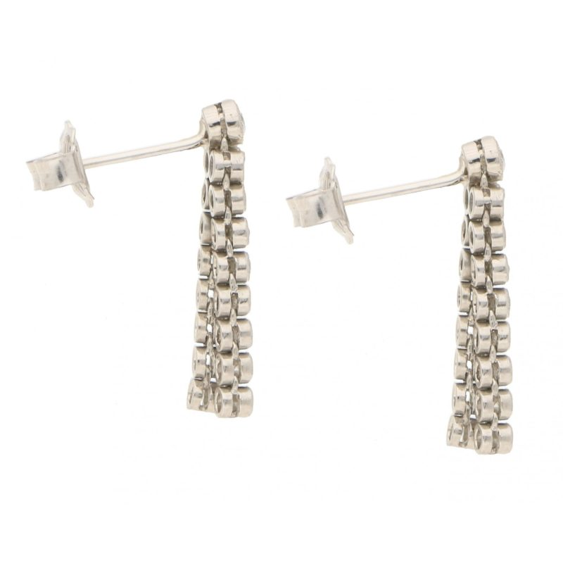 Double Drop Diamond Earrings in White Gold