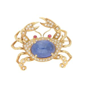 7ct Sapphire, Diamond and Ruby Crab Pin Brooch in Yellow Gold