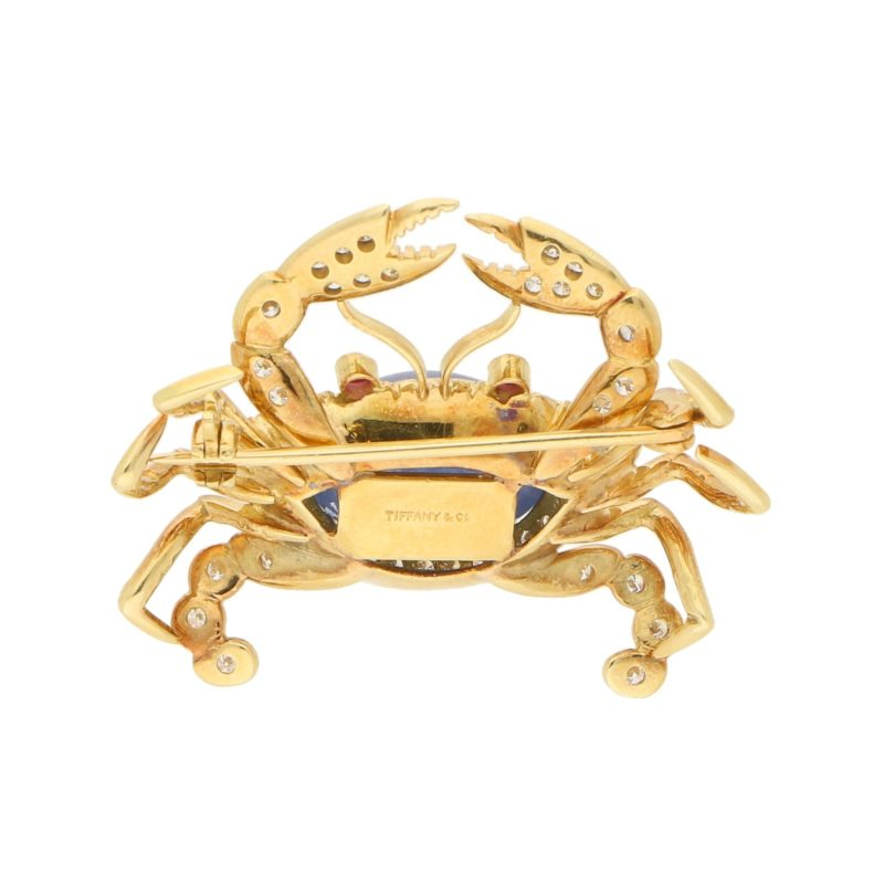 Diamond and Ruby Crab Pin Brooch in Yellow Gold