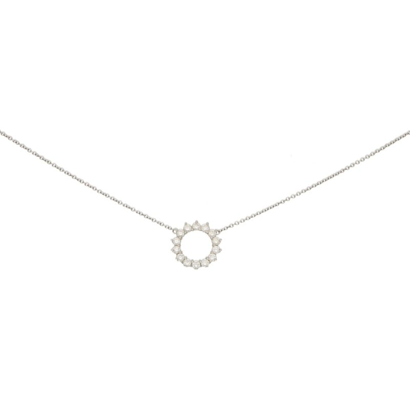 Open Circle Diamond Pendant in Platinum