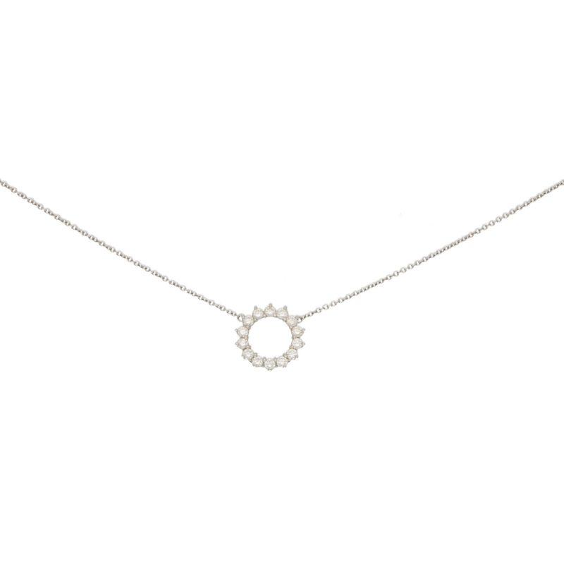 Open Circle Diamond Pendant in Platinum