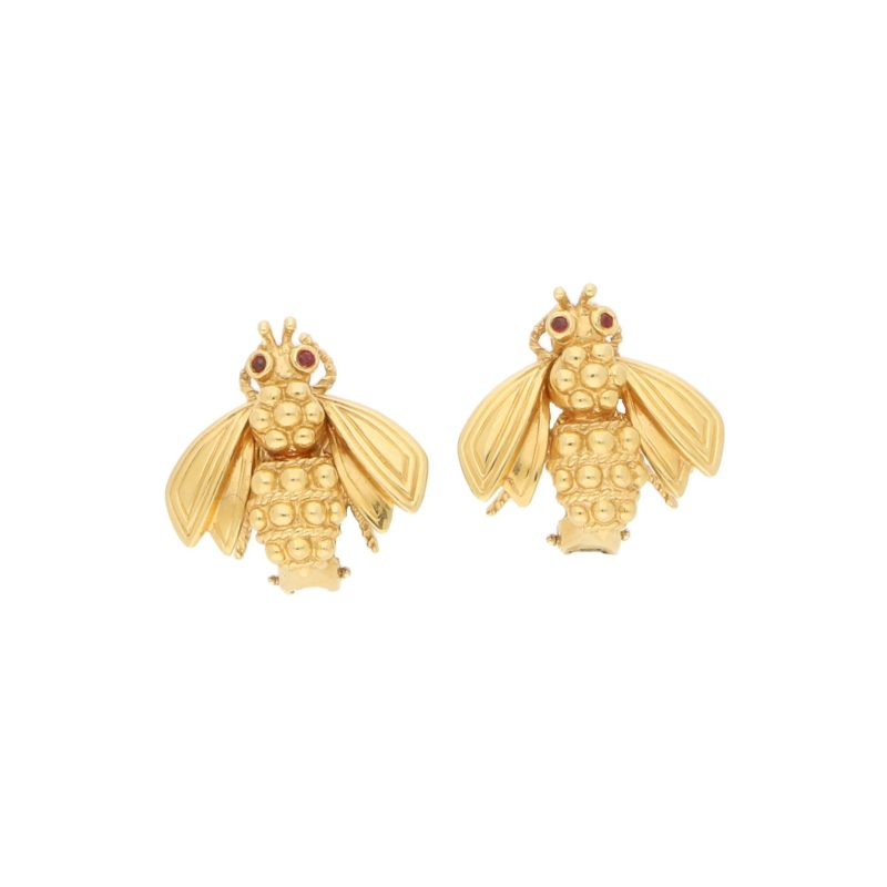 1960s Queen Bee with Ruby Eyes Earrings in Yellow Gold