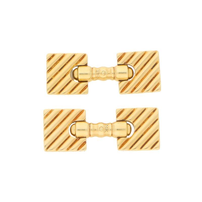 Retro Squared Cufflinks in Yellow Gold, circa 1940