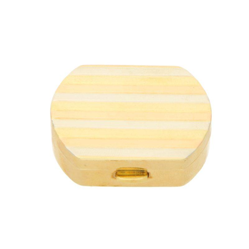 Vintage Italian Pill Box in 18K Tricolour Gold, c. 1990