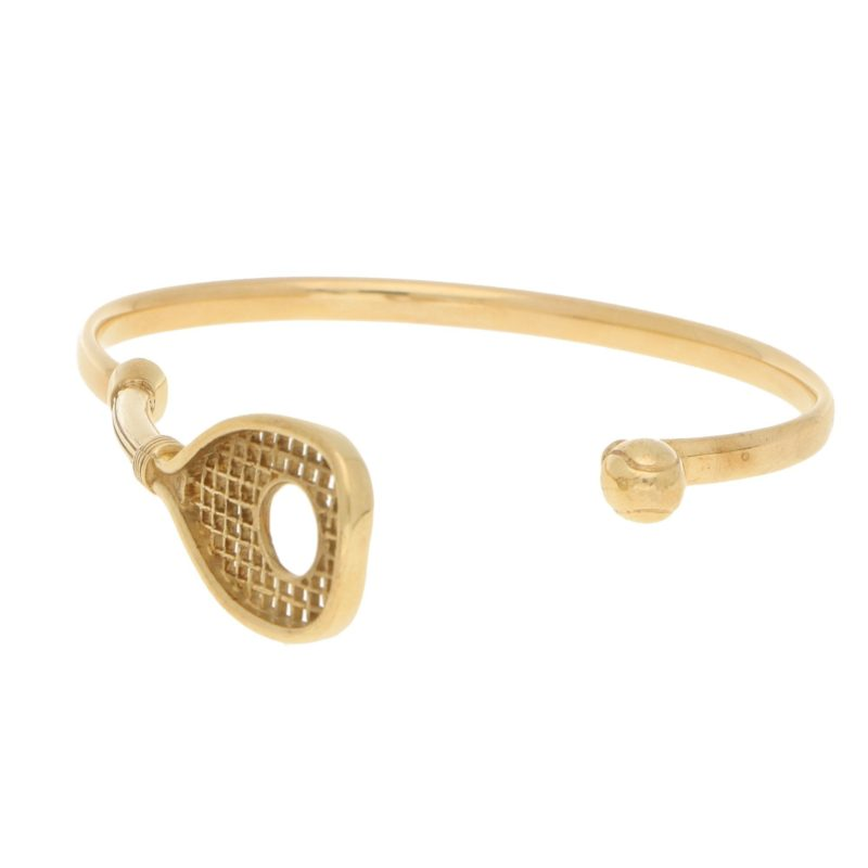 Tennis Racket And Ball Bangle Bracelet in Yellow Gold