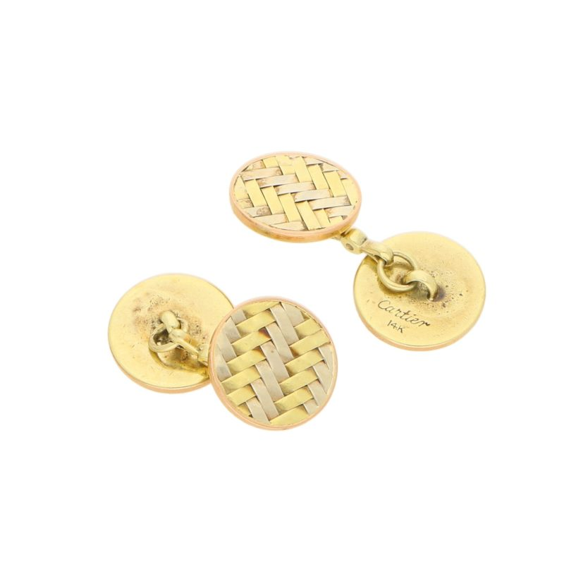 Retro Woven Round Cufflinks in Yellow and White Gold