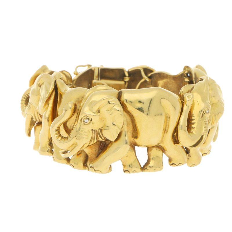 Vintage Herd of Elephants Bracelet Yellow Gold, Italian, 1980s