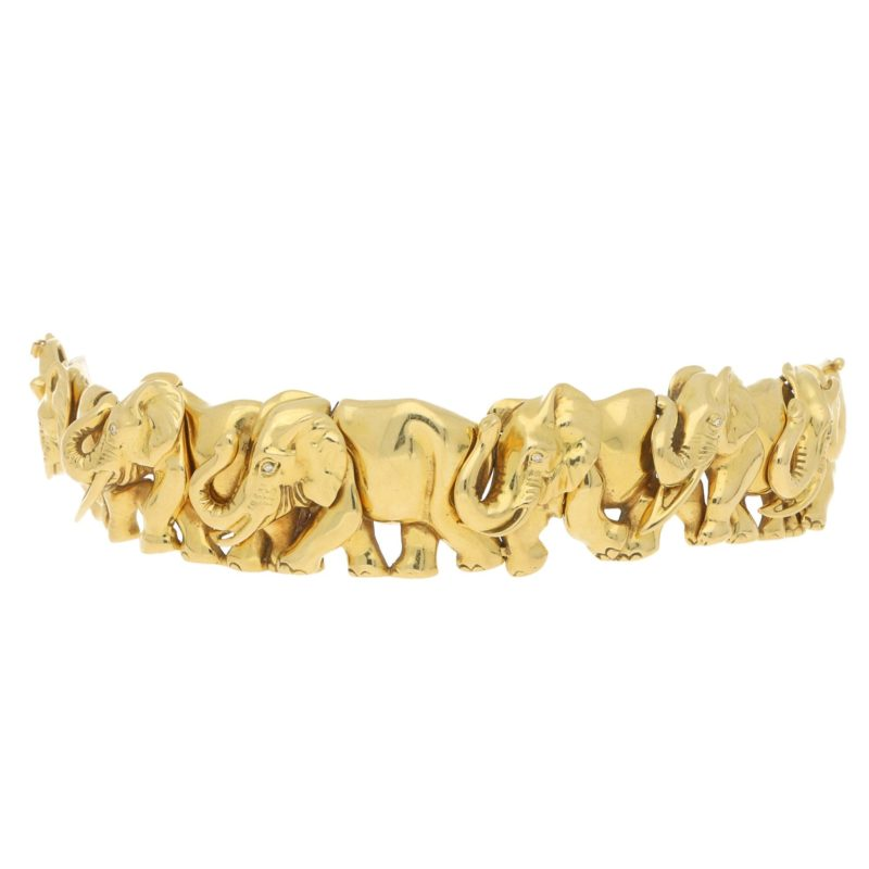 Vintage Herd of Elephants Bracelet Yellow Gold, Italian, 1980s