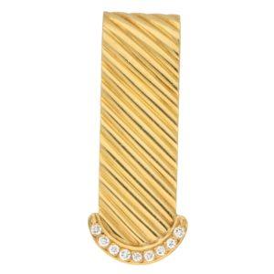Vintage Diamond Money Clip in Yellow Gold, 1990s