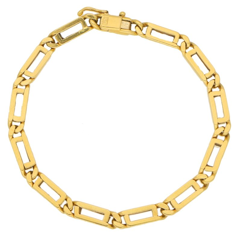 Vintage Geometric Openwork Link Bracelet in Yellow Gold