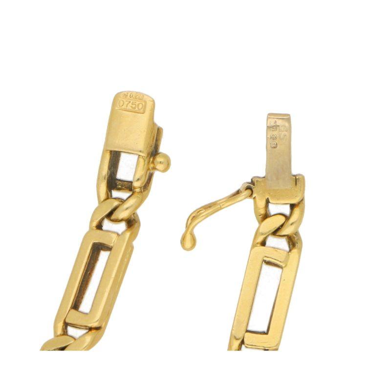 Vintage Geometric Openwork Link Bracelet in Yellow Gold, 1970s