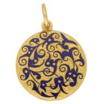 Victorian Royal Blue Enamel Floral Circular Locket Yellow Gold