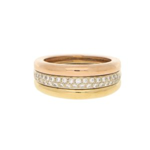 Cartier Pavé Diamond Tricolour Gold Ring Size 55