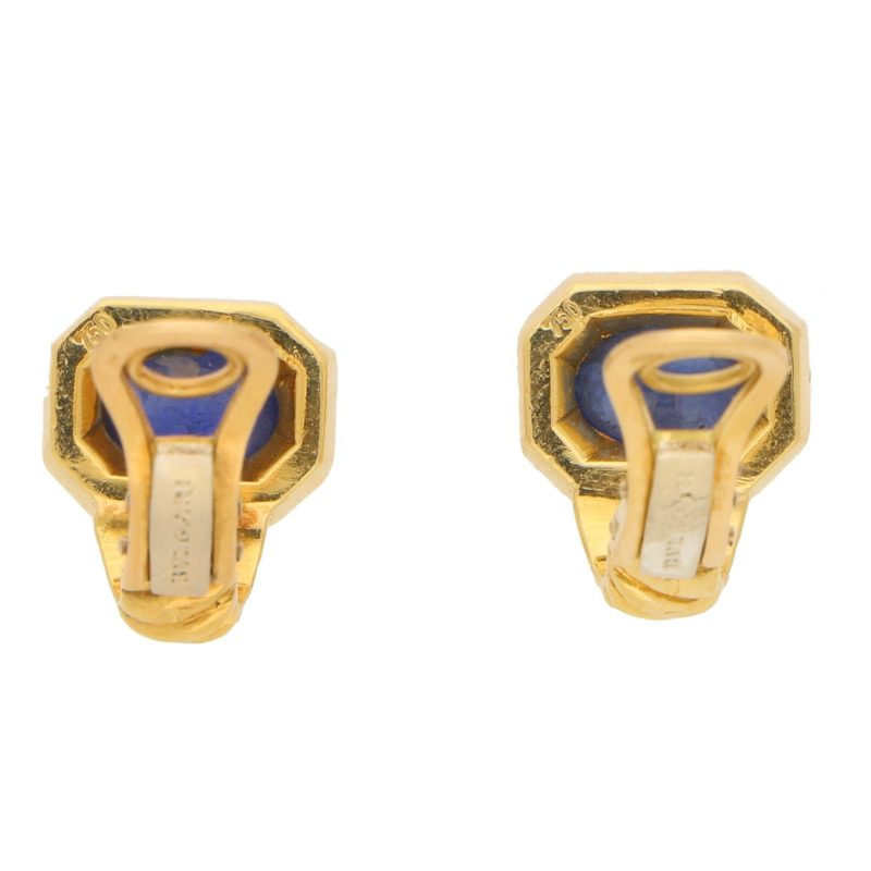 Bulgari Cabochon Sapphire Clip Earrings in Yellow Gold