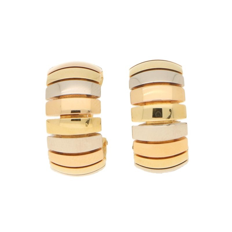 Gas Pipe Style Tricolour Gold Hoop Earrings