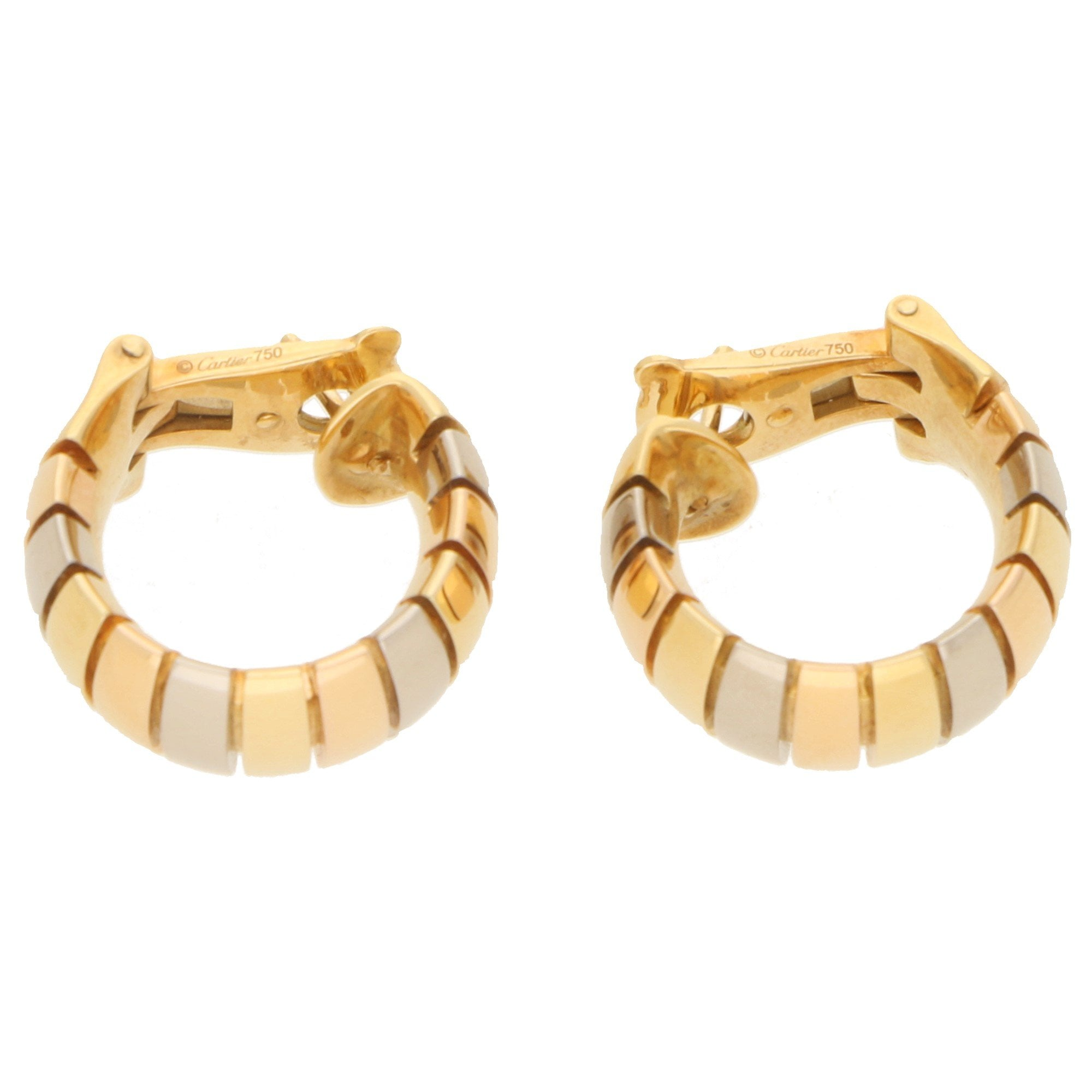 Gas Pipe Style Tricolour Gold Hoop Earrings At Susannah Lovis Antique Jewellery