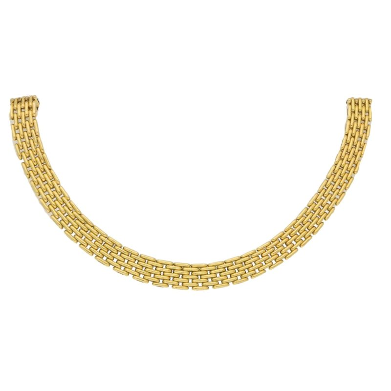 Vintage Brick Link Necklace in Yellow Gold, 1980s/1990s