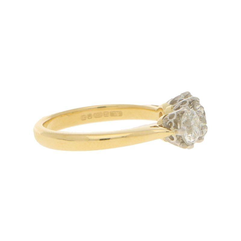 1.70ct Old European Diamond Three-Stone Ring Yellow White Gold