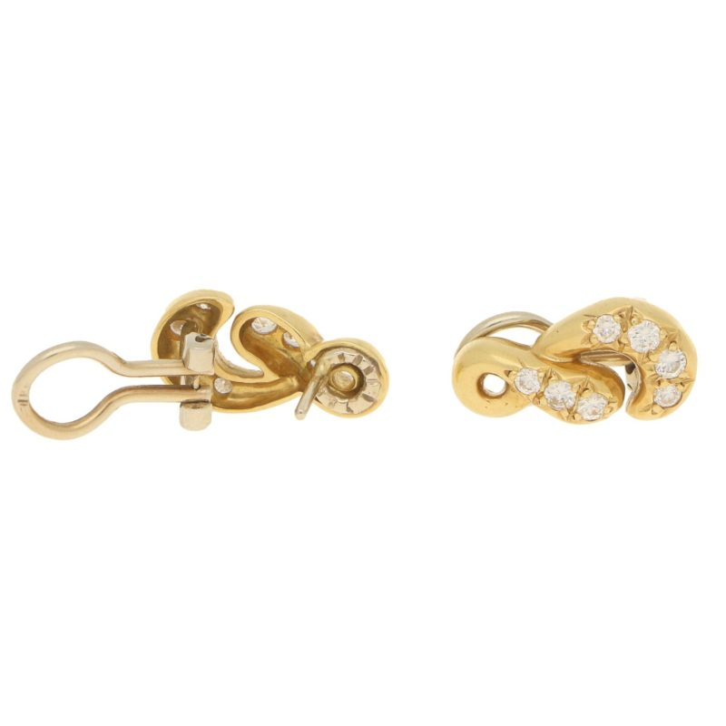 Vintage Figure-of-8 Diamond Earrings in Yellow and White Gold