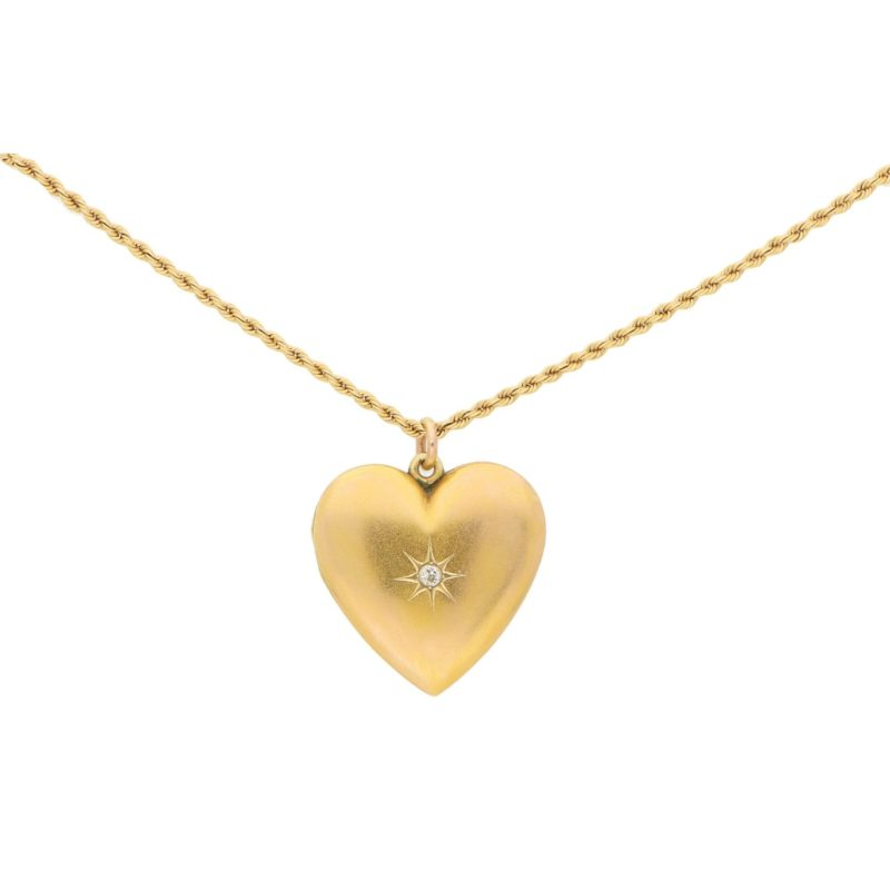 Victorian Diamond Heart Double Locket in Yellow Gold