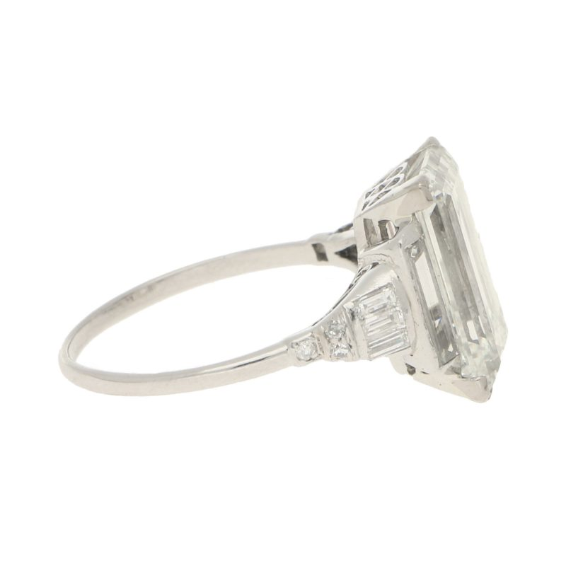 Art Deco 6.60ct Baguette-Cut Diamond Solitaire Ring in Platinum
