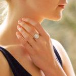 Oval Diamond Cluster Ring Set in Platinum